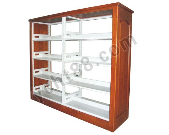 点击查看商品:高档四层双面双柱钢木书架